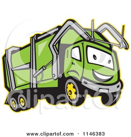 Cartoon of a Happy Green Garbage Truck Mascot.