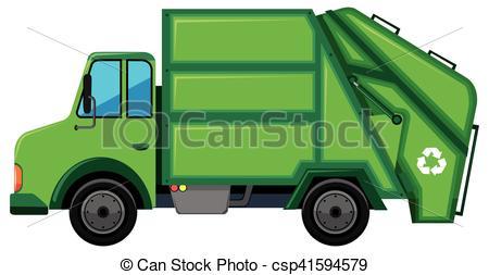 Green Garbage Truck Isolated. Vector Art Illustration.