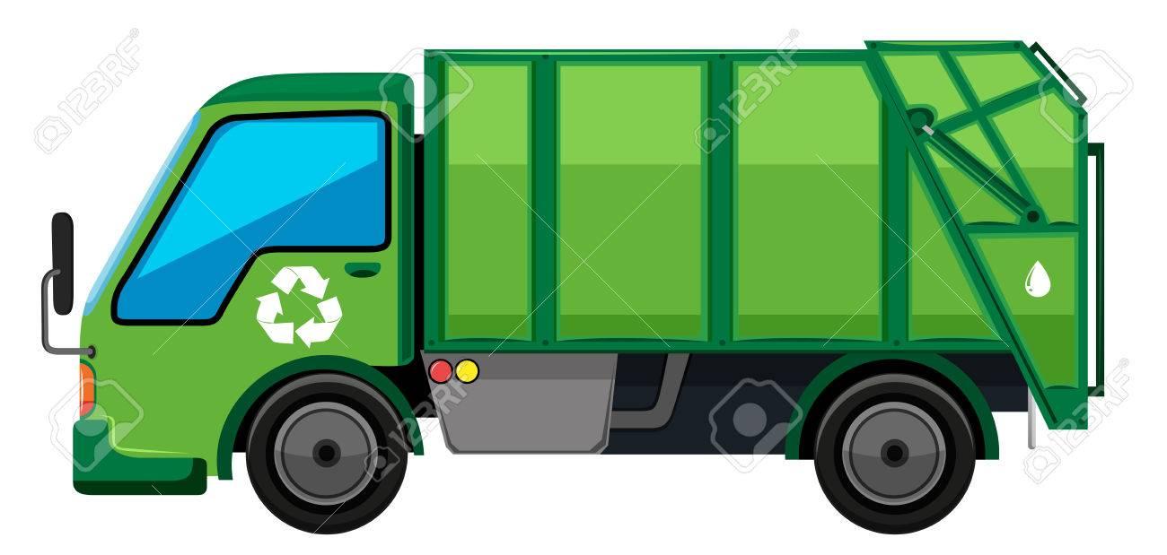 Garbage truck in green color illustration.