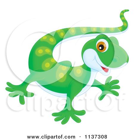 Cartoon Of A Cute Green Gecko.