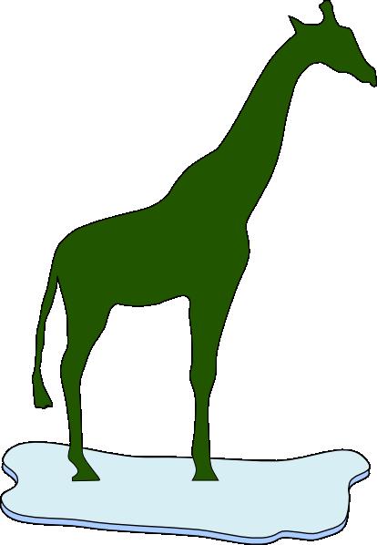 Green Giraffe Silhouette On Ice Clip art.