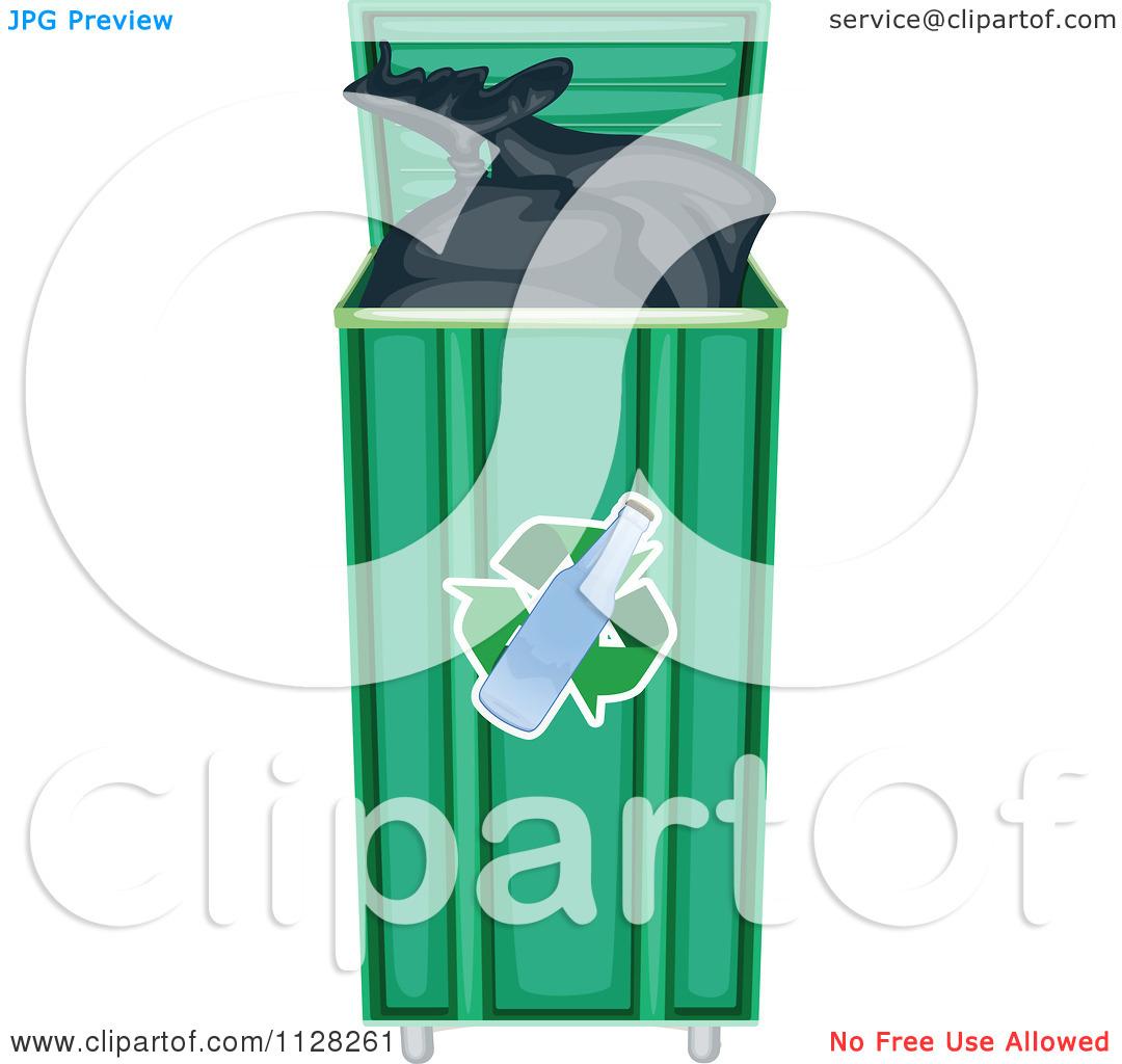 Cartoon Of A Full Green Glass Recycle Bin.