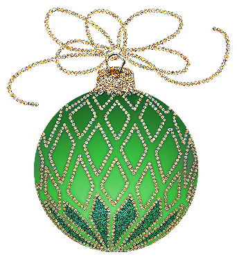 Christmas Green and Gold Ornament Clipart.