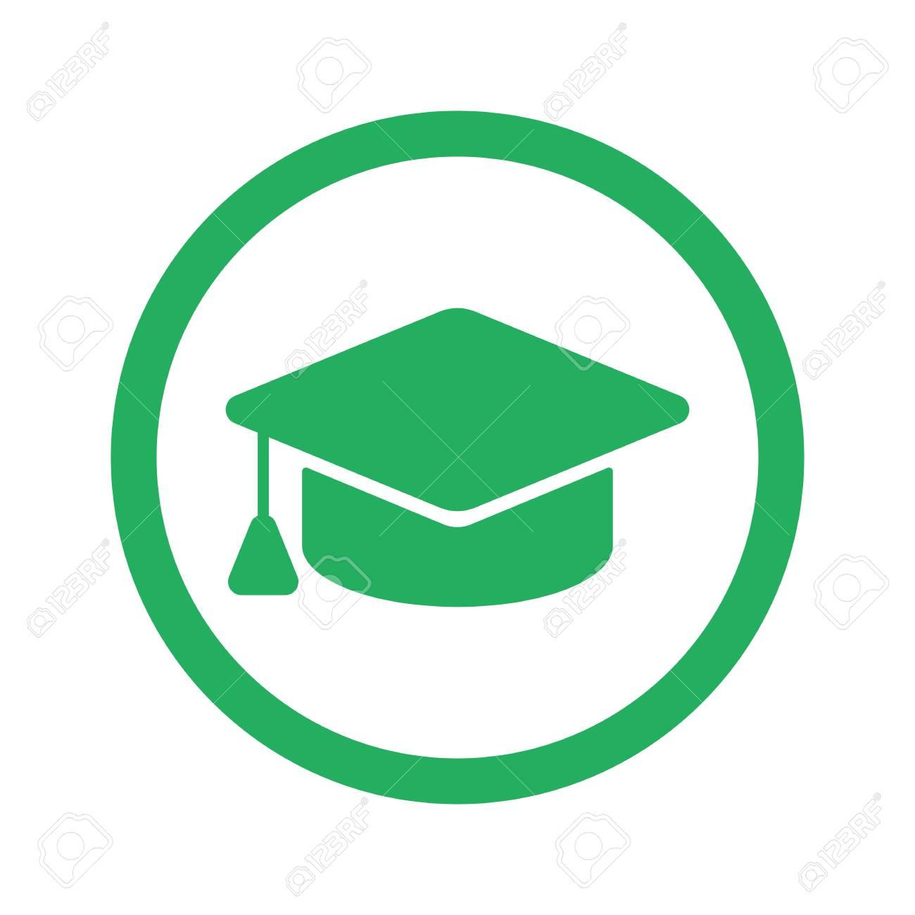 Flat green Graduation Cap icon and green circle.