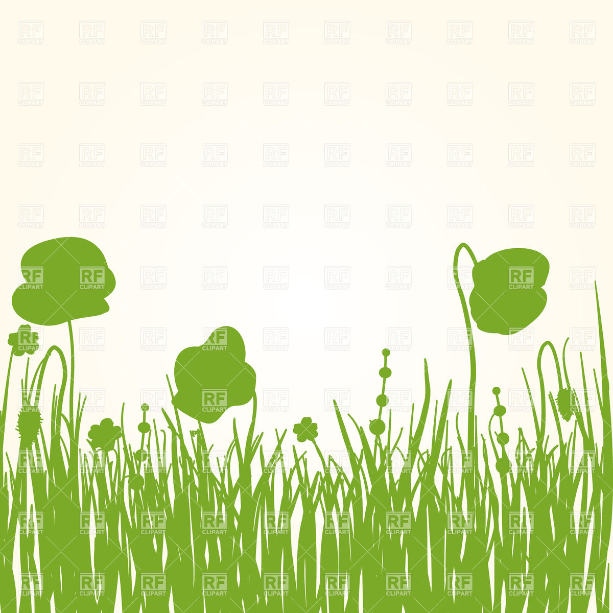 Green grass with flower silhouettes Vector Image #22829.