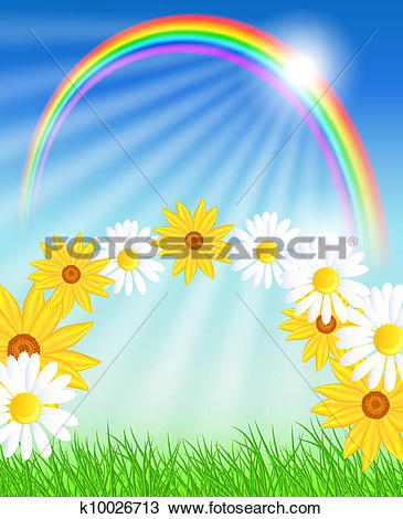 Clipart of Flowers with green grass and rainbow k9463134.