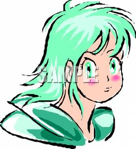 Anime Style Girl with Green Hair Clipart Picture.