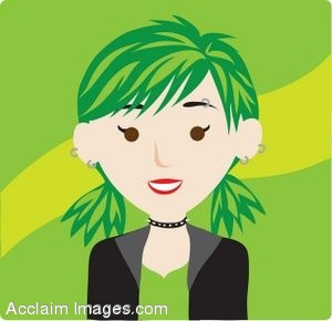 Clip art icon of a Punk Girl with Green Hair.