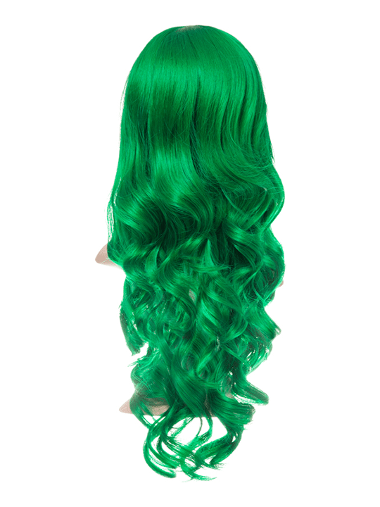 Apple Green Long Curly Party Wig.