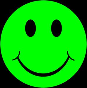 Happy Green Face clip art.