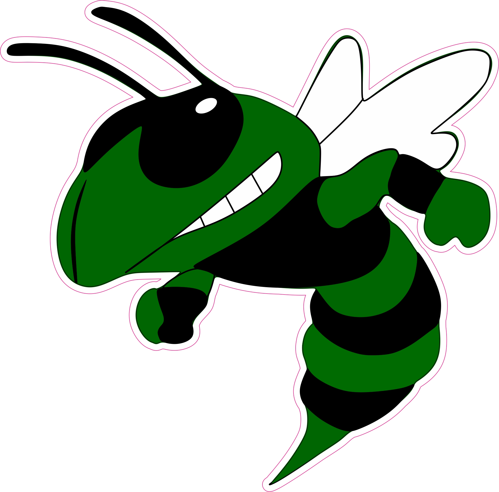 7in x 7in Left Facing Angry Dark Green Hornet Yellow Jacket Bumper Sticker  Decal Window Stickers Decals.