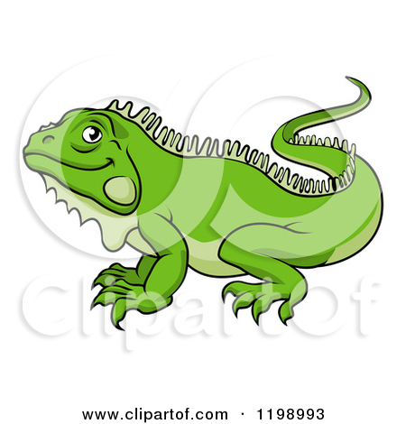 Clipart of a Green Iguana Lizard on an Alphabet Letter I Is for.