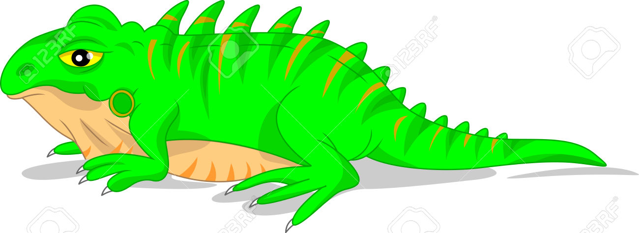 Cute Green Iguana Lizard Royalty Free Cliparts, Vectors, And Stock.