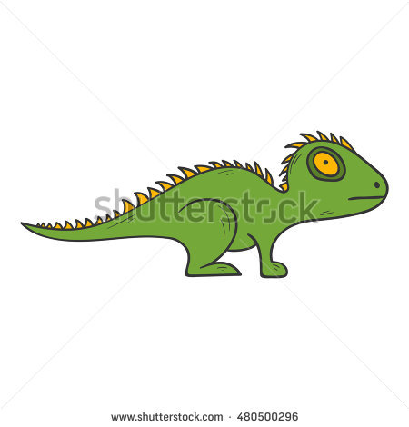 Green Iguana Lizard Side View Picture Stock Vector 136065374.