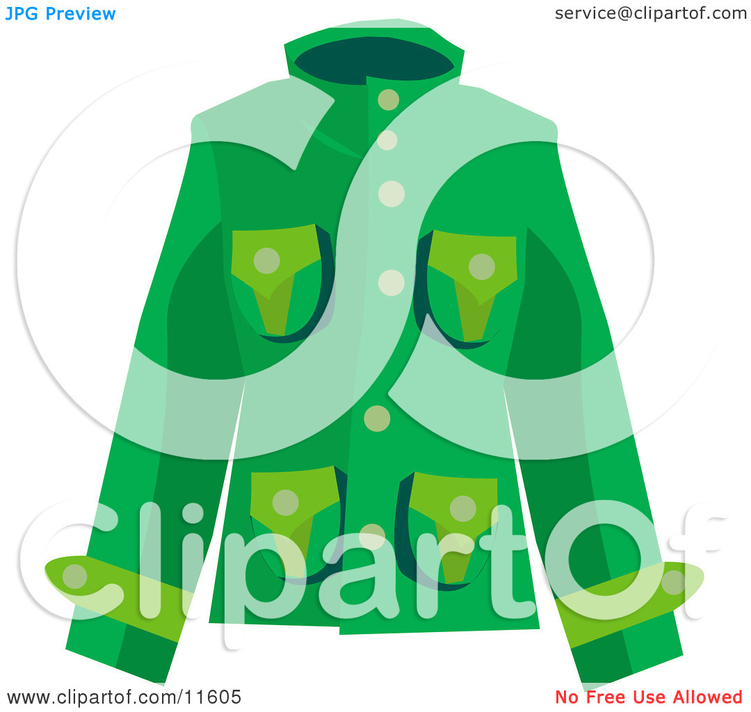 Woman's Green Coat Clipart Picture by AtStockIllustration #11605.