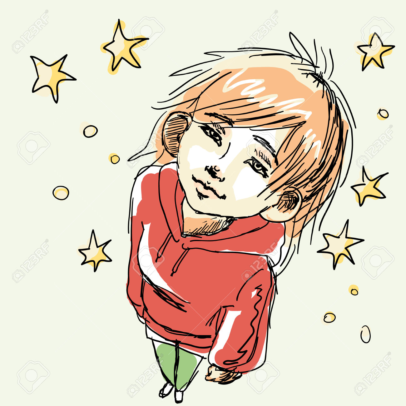 Vector Illustration Of A Girl In Red Hoodie And Green Jeans.