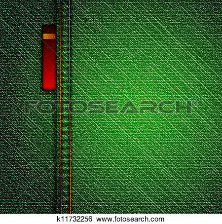 Clip Art of Detailed green jeans texture. Vector k11732256.