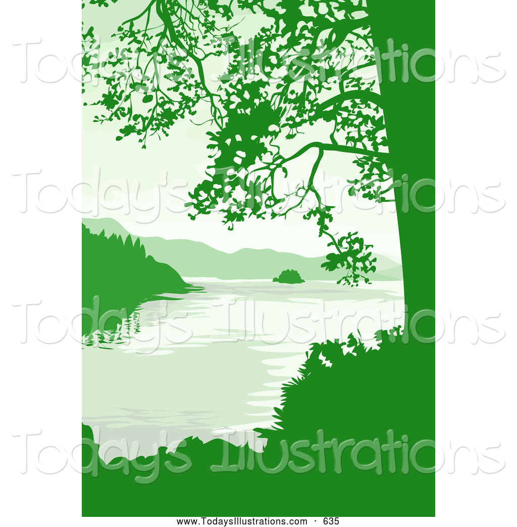 Clipart of a Pretty Lake, Mountains and Trees in Green Tones by.