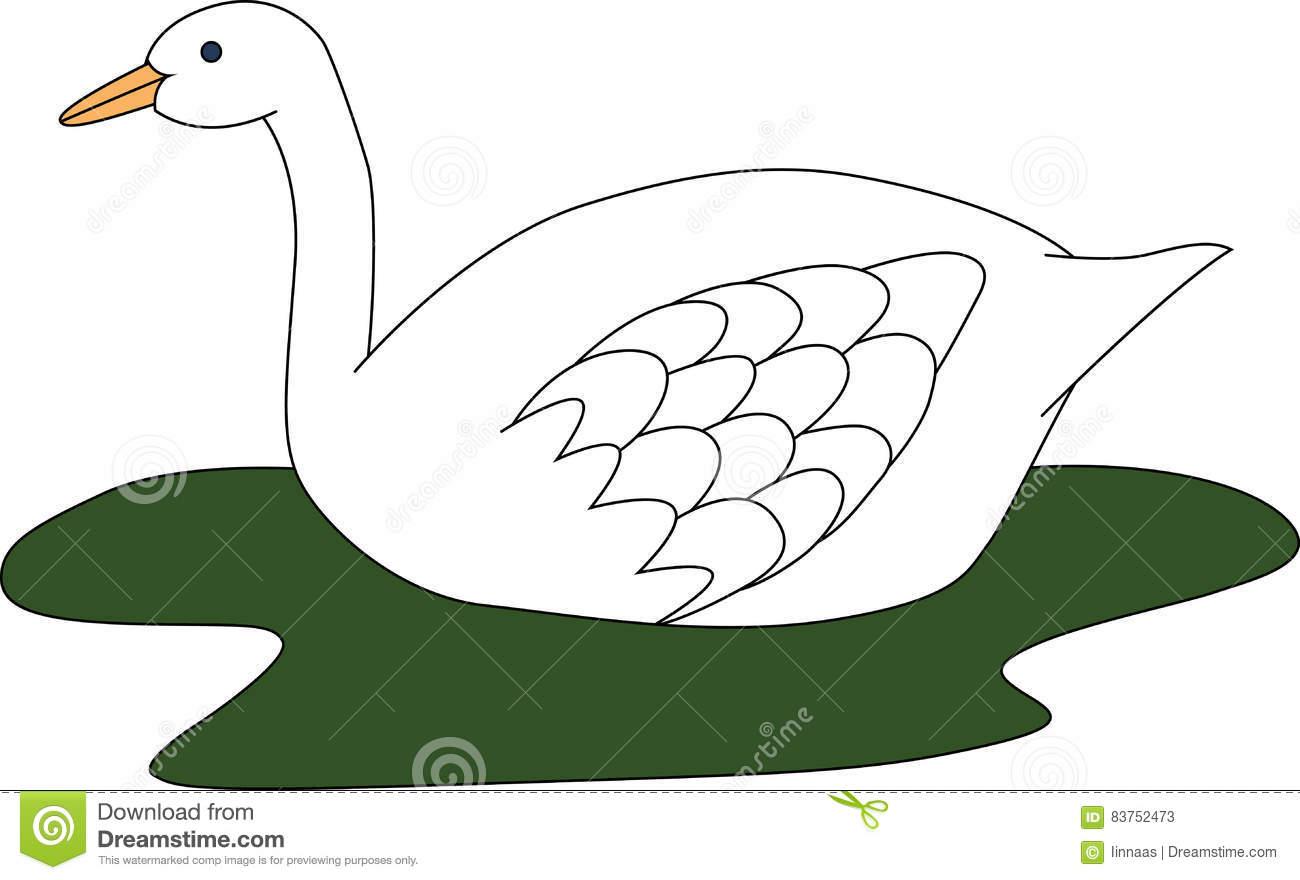 Illustration Of Big White Swan In Green Lake Stock Illustration.
