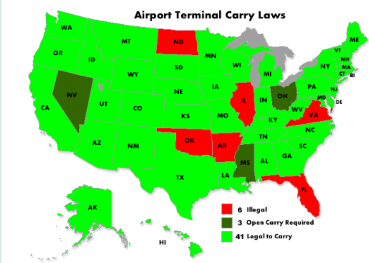 44 States Do NOT Ban Lawful Firearms Carry at Airport Baggage.