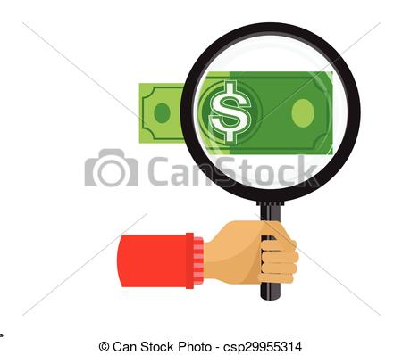 Vector Clip Art of Magnifying glass focusing the dollar sign money.