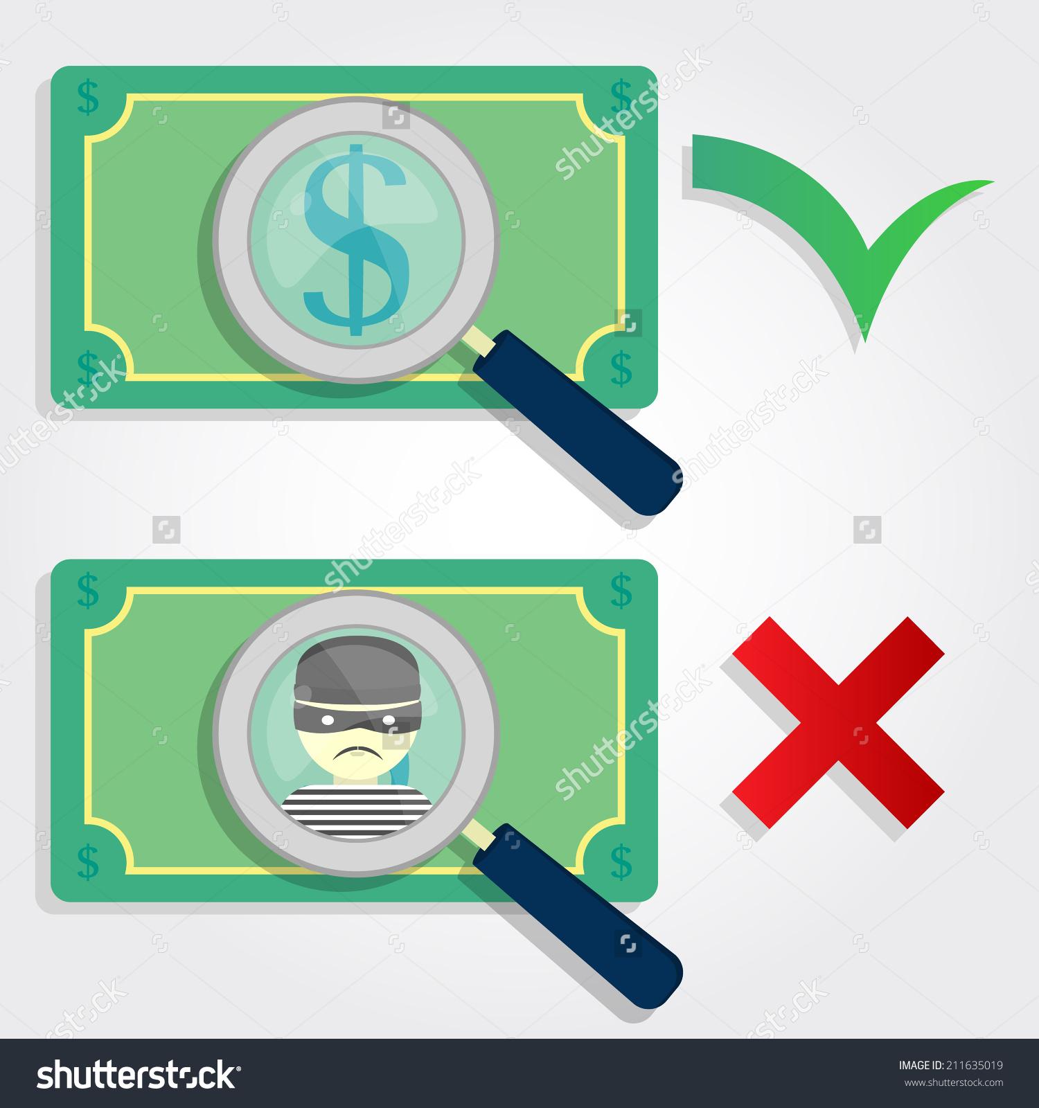 Fake Money Legal Money Symbols Checklist Stock Vector 211635019.