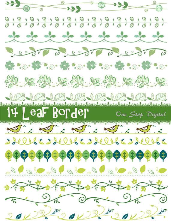 Instant Download Green Leaves Digital Border Clip Art Green Leaf.