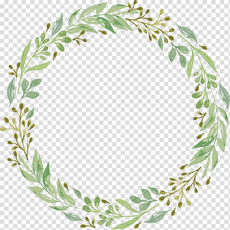 Wedding invitation Wreath Garland , Green leaf garland.