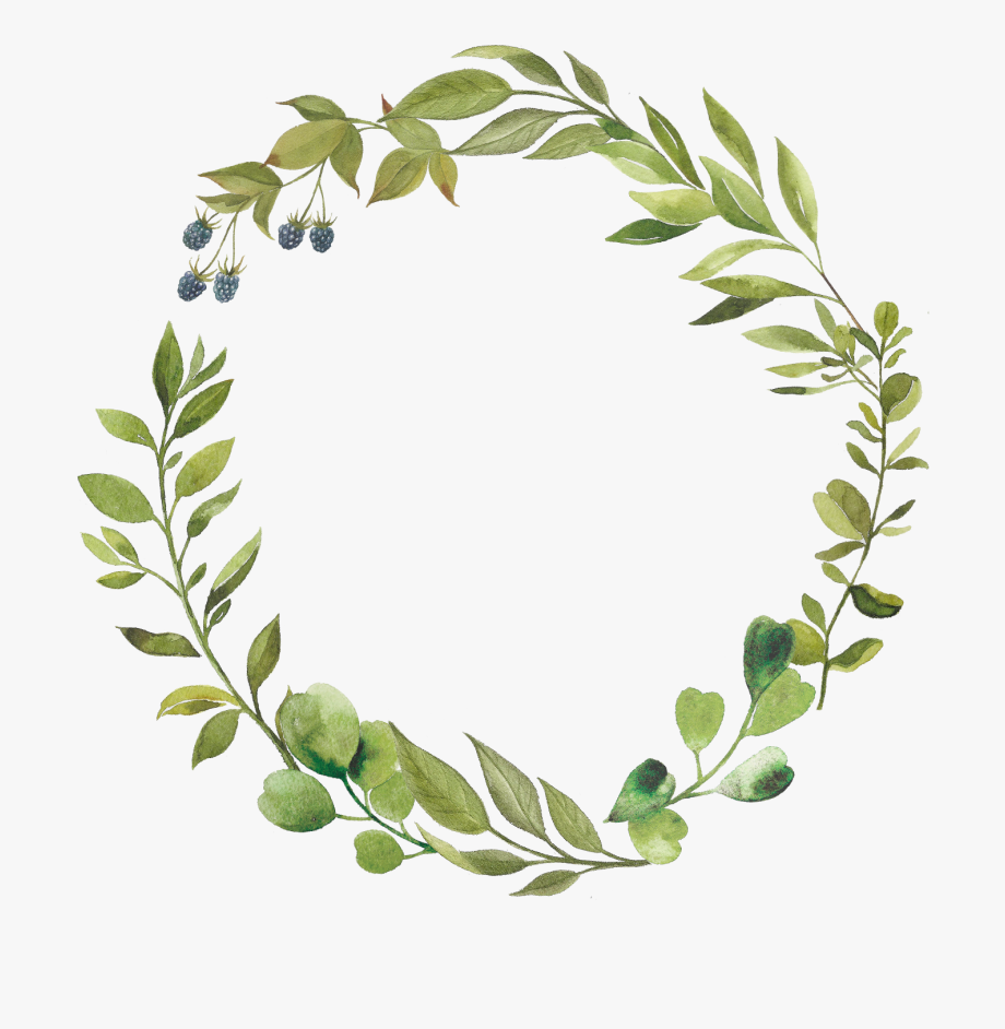 Green Leaves Wreath Clipart Greenery Circle Botanical.