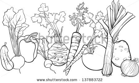Black White Cartoon Vector Illustration Vegetables Stock Vector.
