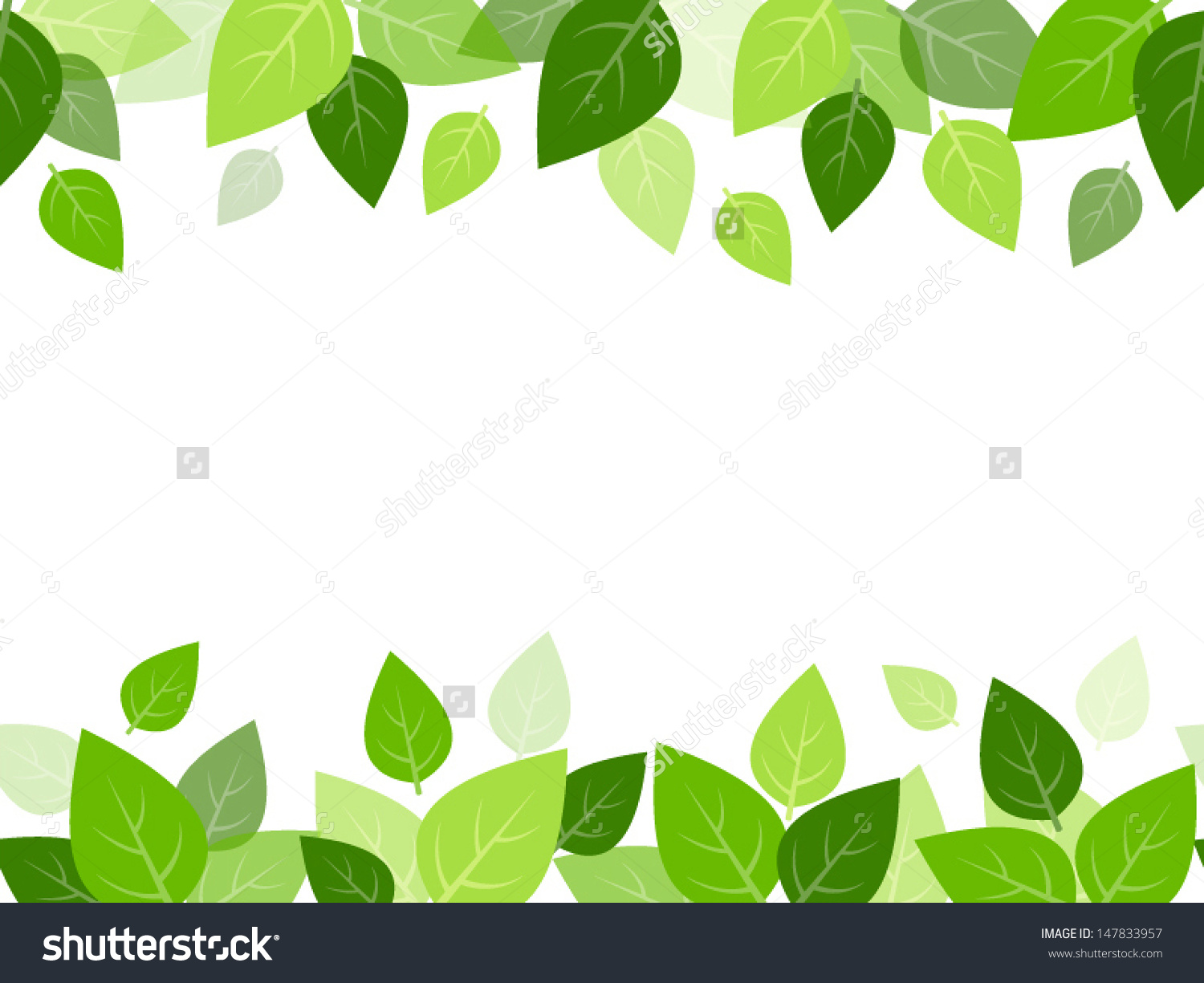 Horizontal Seamless Background Green Leaves Vector Stock Vector.