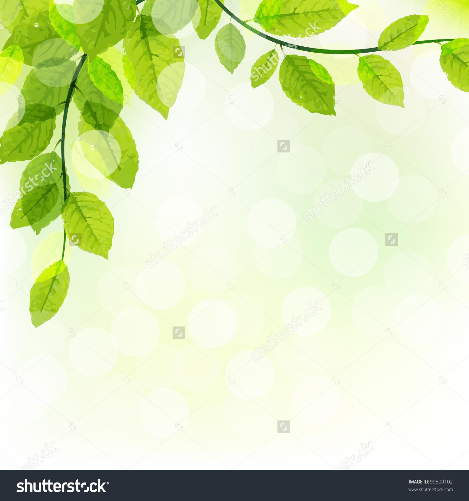 Green Leaves Background Bokeh Vector Illustration Stock Vector.