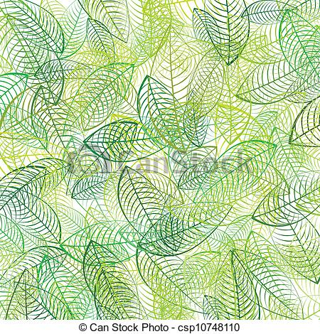 Vector Clip Art of Green leaves background csp10748110.