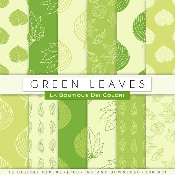 Light Green leaves digital paper. Nature, forest, spring, summer.