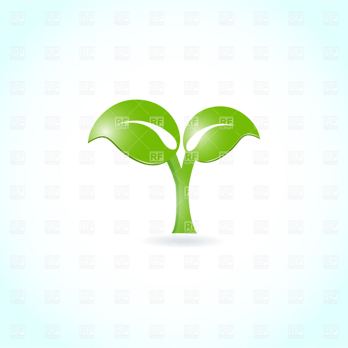 Two green leaves on light blue background Vector Image #22780.
