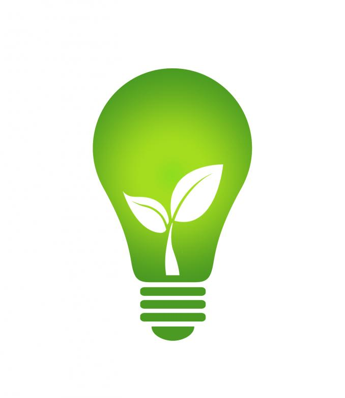 Ecology Think green light bulb.