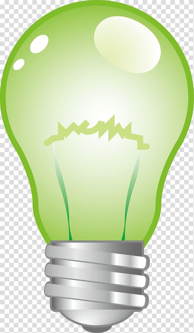 Incandescent light bulb Green Lamp, light bulb transparent.