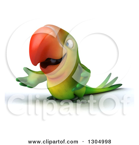 Clipart of a Cartoon Green Macaw Parrot Holding a Pencil, on a.