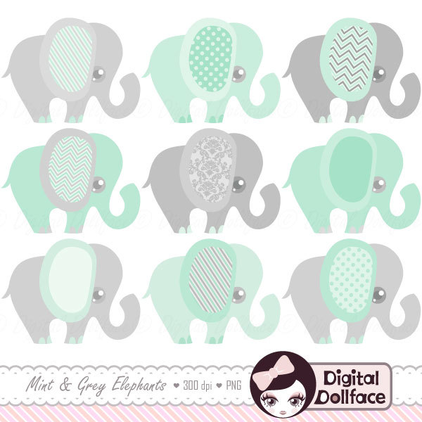 Mint Green Elephant Clipart Baby Shower Mint by DigitalDollface.