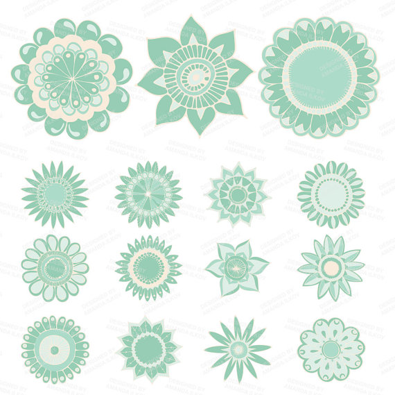 Professional Mint Green Flowers Clipart & Vectors by AmandaIlkov.