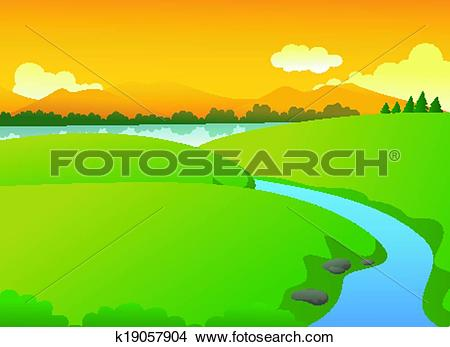 Clipart of Beautiful Green Nature With Lake an k19057904.