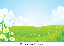 Stock Illustration of Green nature landscape with planet Earth.