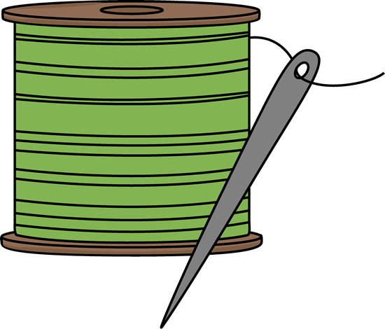 Black needle green thread clipart.