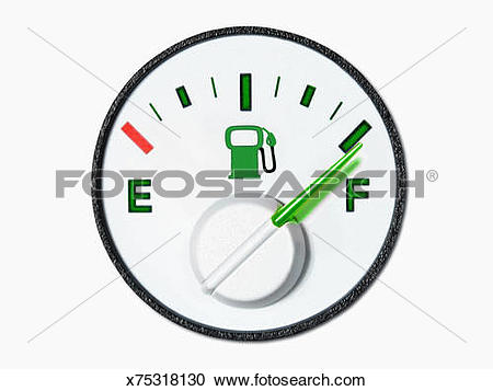 Stock Illustrations of Fuel gauge with green needle at full.