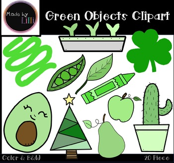 Green Color Objects Clipart.