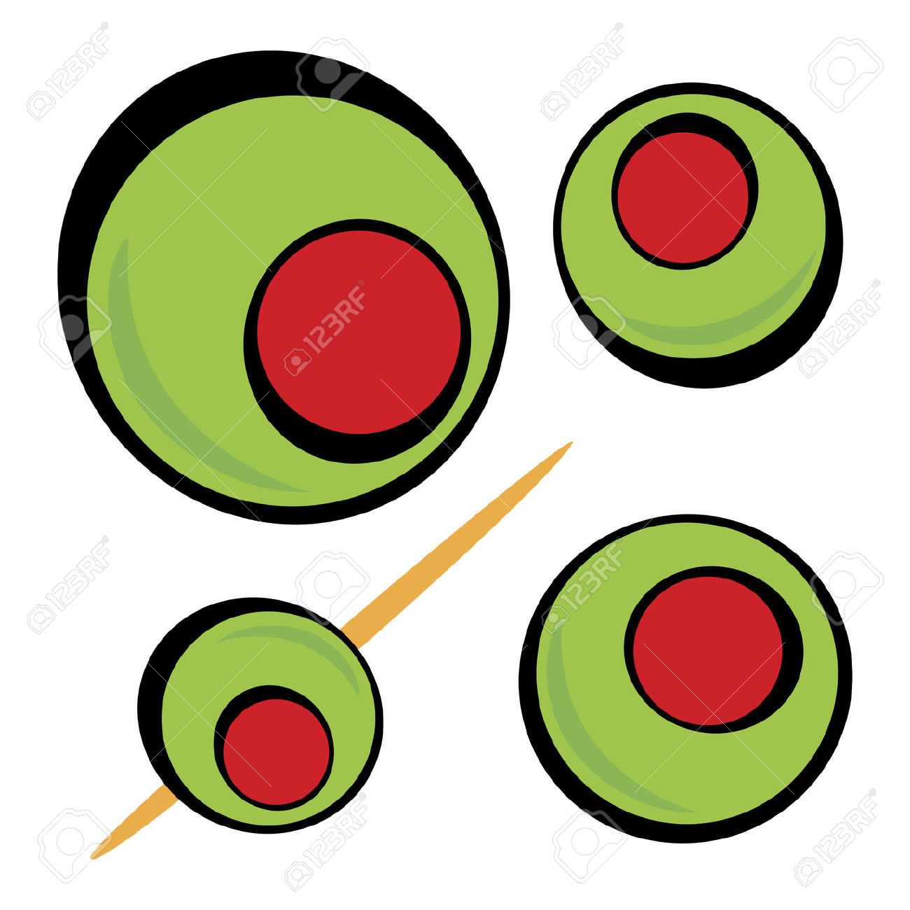 A Variety Of Green Olives. Great Clip Art For A Martini Graphic.