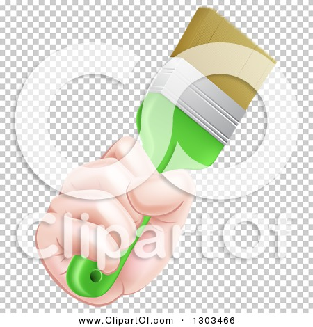 Clipart of a Caucasian Hand Holding a Lime Green Paint Brush.
