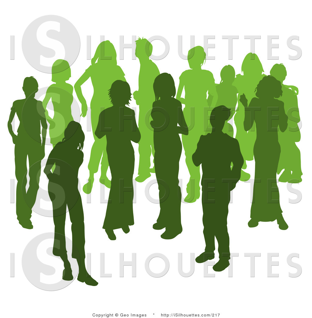 Silhouette Clipart of People Talking in a Crowd of Silhouetted Green.
