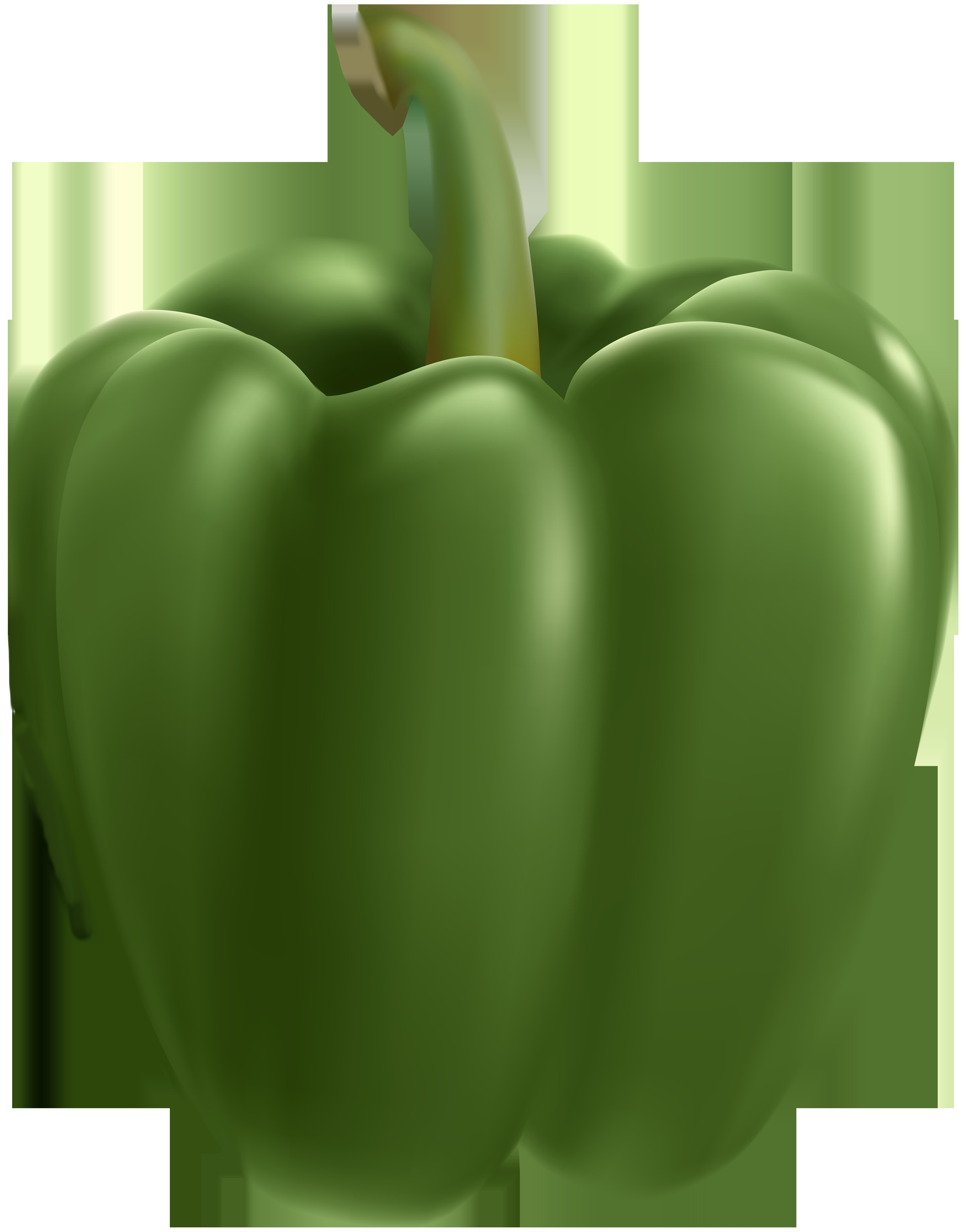 Green Bell Pepper Transparent Clip Art Image.