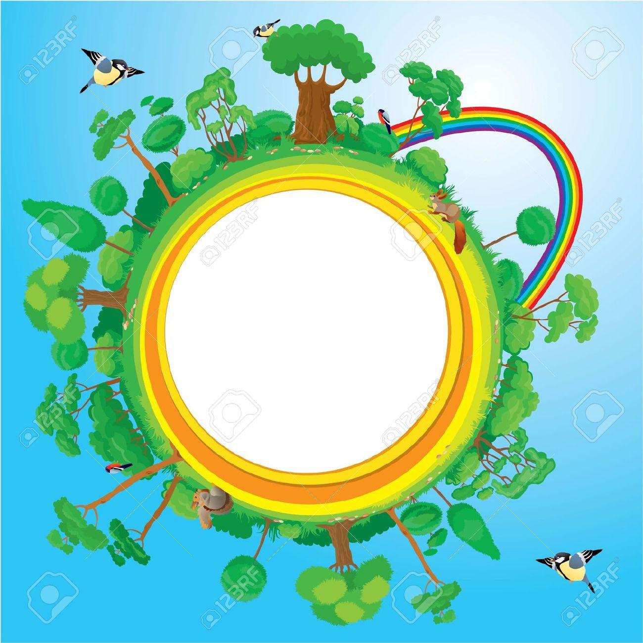 Globe With Green Trees, Birds, Animals, Rainbow.